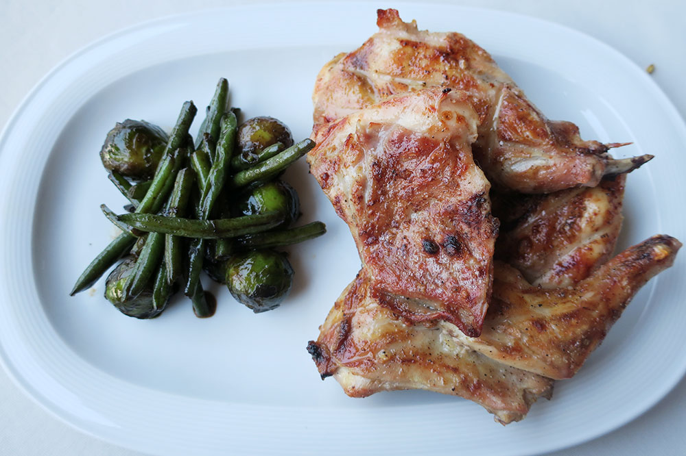 Rabbit with Brussels sprouts and green beans from the restaurant at the Schuchmann Hotel