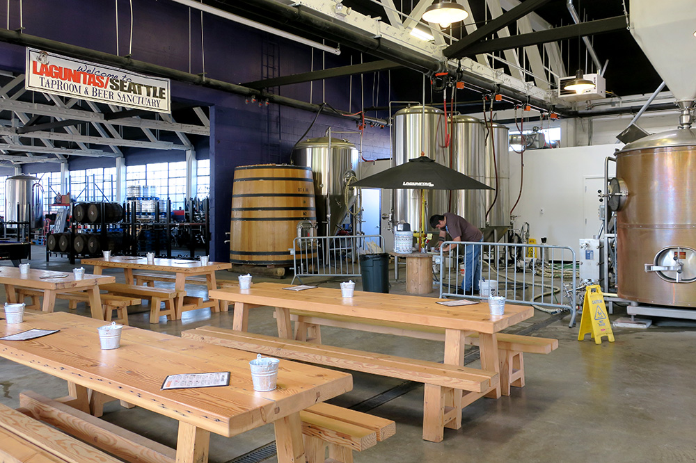 The taproom at Lagunitas Brewery Company in Seattle