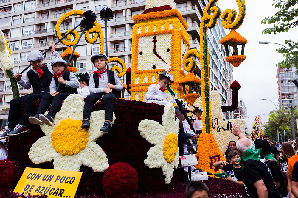 A Mary Poppins-themed float at the Battle of Flowers in Laredo, Spain