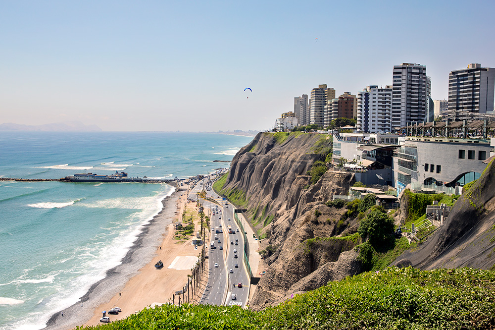 The cliffs of Miraflores in Lima, Peru