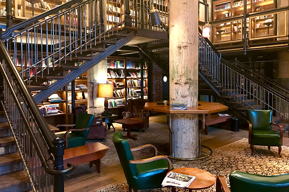 The hotel library of Hotel Emma, a former brewery - Photo by Hideaway Report editor