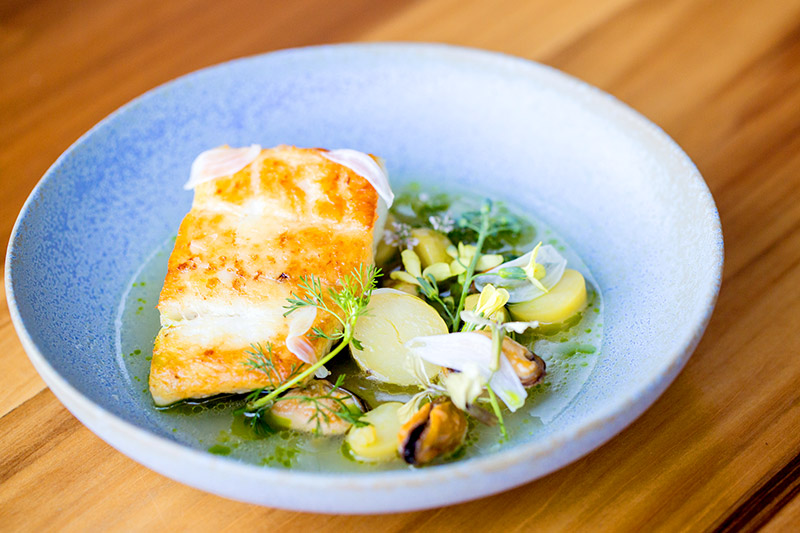 Seared halibut with pole beans, local seaweeds and curried braissage at <em>Lord Stanley</em> - Star Chefs © Antoinette Bruno