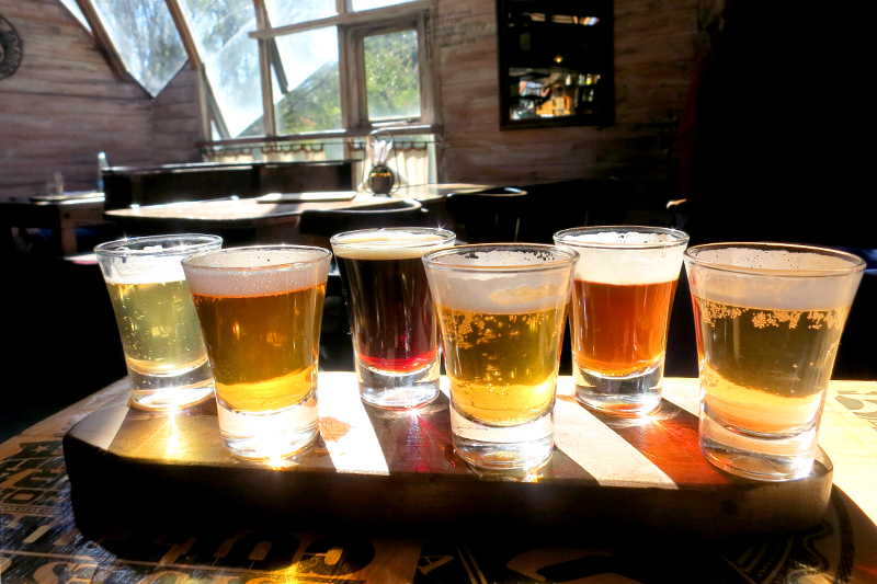 Our beer flight at Cerveceria Berlina- Photo by Hideaway Report editor