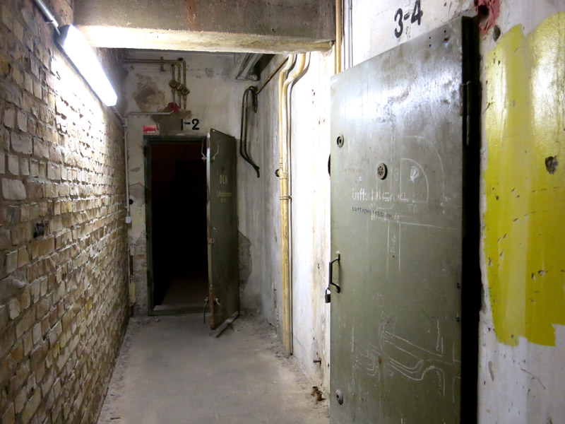 Concrete bomb shelter in the basement of Tempelhof Airport - Photo by Hideaway Report editor