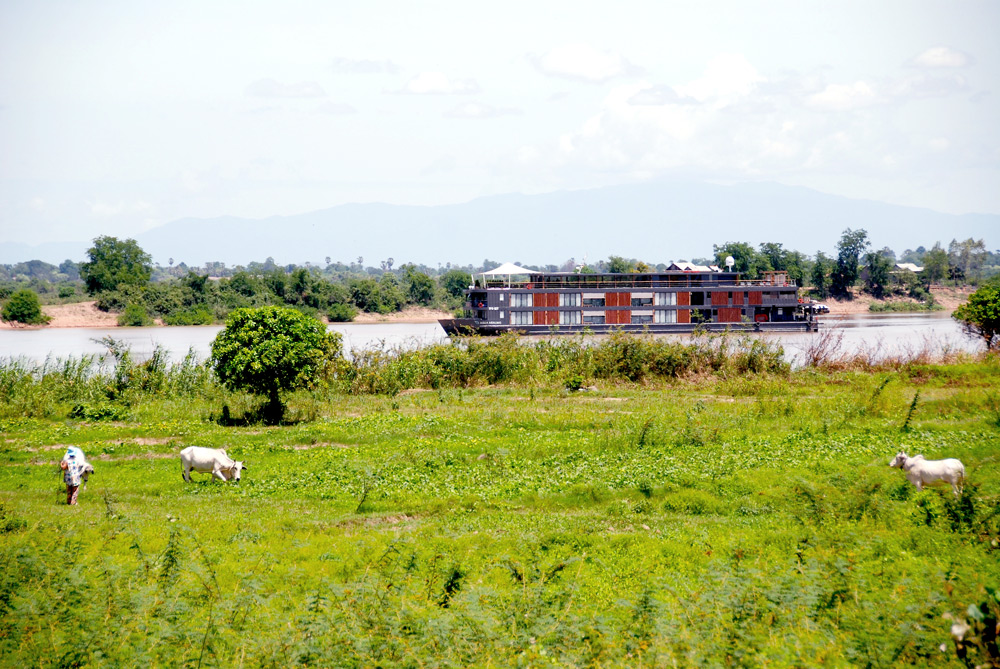 View of the <i>Aqua Mekong</i> during an onshore biking excursion - Photo by Hideaway Report editor