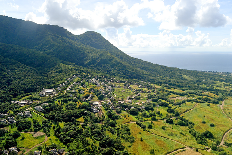 Aerial view of Belle Mont Farm on the Kittitian Hill development
