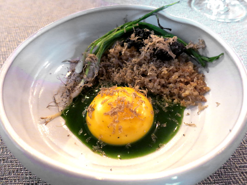 Sous-vide egg yolk with ramps, ramp juice, fried amaranth and chanterelle mushrooms at <i>42 grams</i> - Photo by Hideaway Report editor