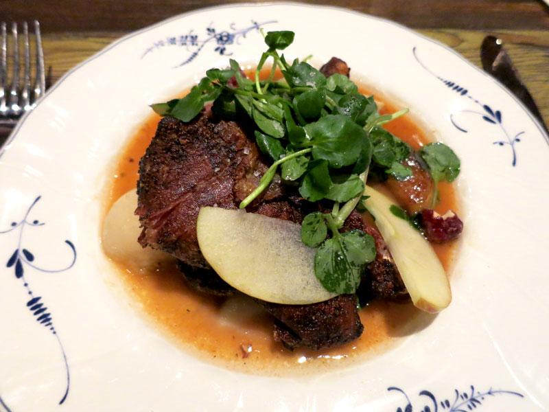 Czech roast duck with apples, turnips, brandied prunes and smoked hazelnuts at <i>Bohemian House</i>  - Photo by Hideaway Report editor