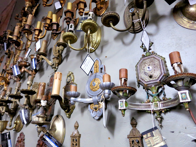 Vintage wall sconces at Urban Remains - Photo by Hideaway Report editor