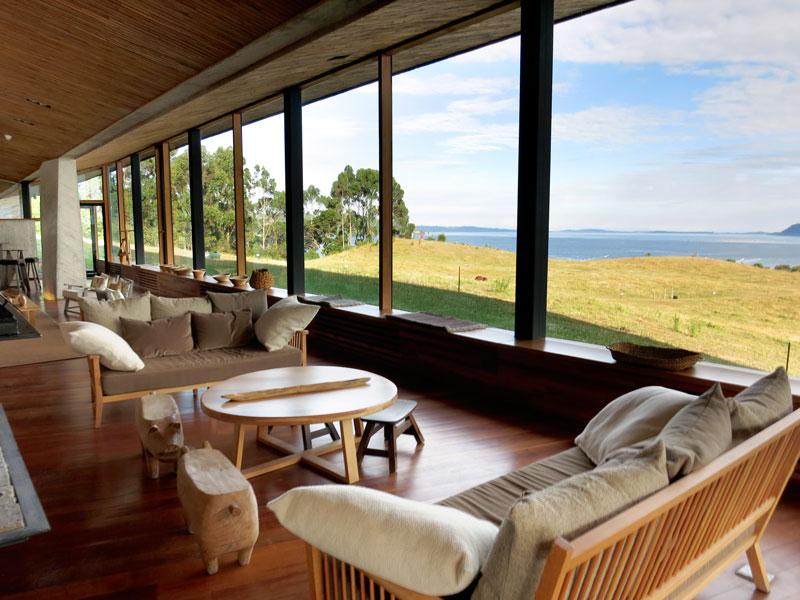 Lounge at Tierra Chiloé - Photo by Hideaway Report editor