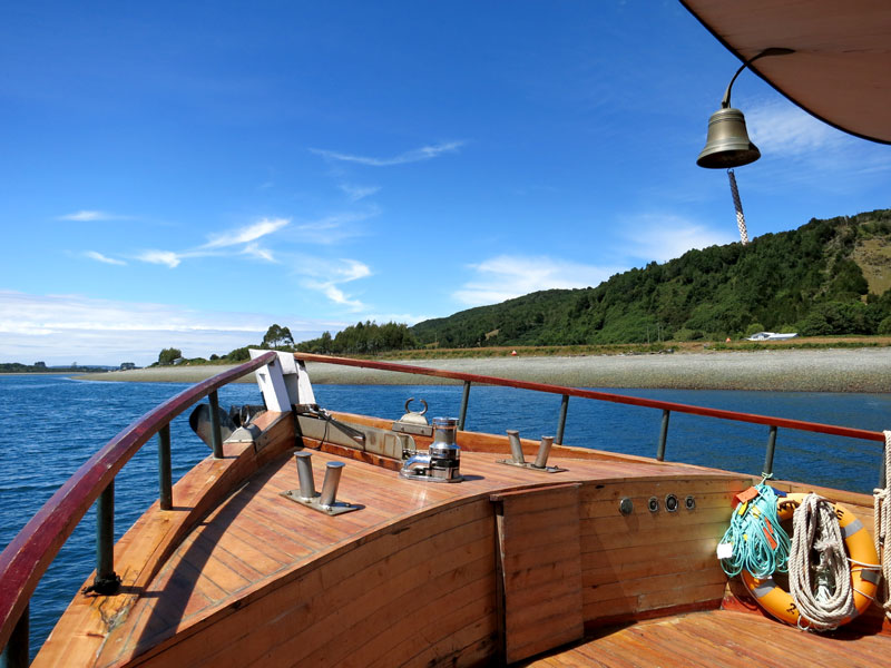 Aboard the hotel's elegant wooden yacht, Williche  - Photo by Hideaway Report editor