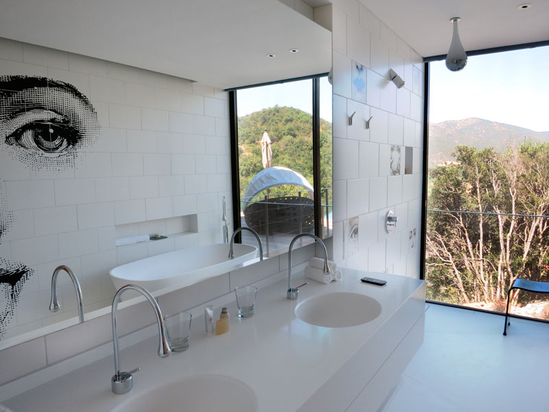 """Fornasetti"" Master Suite bath at Viña Vik - Photo by Hideaway Report editor"
