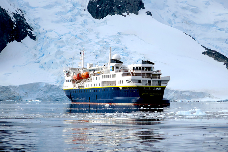 The <em>National Geographic Explorer</em> at Booth Island - Photo by Hideaway Report editor