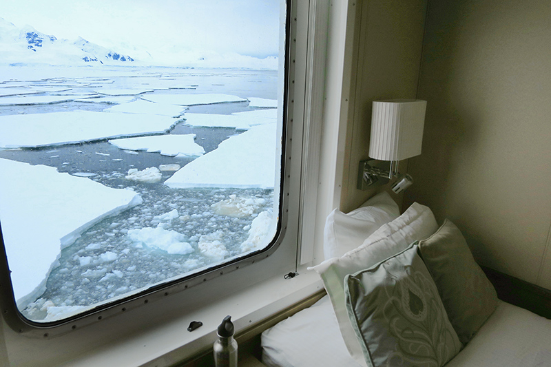 View from our room aboard the <em>National Geographic Explorer</em> as we crossed below the Antarctic Circle - Photo by Hideaway Report editor