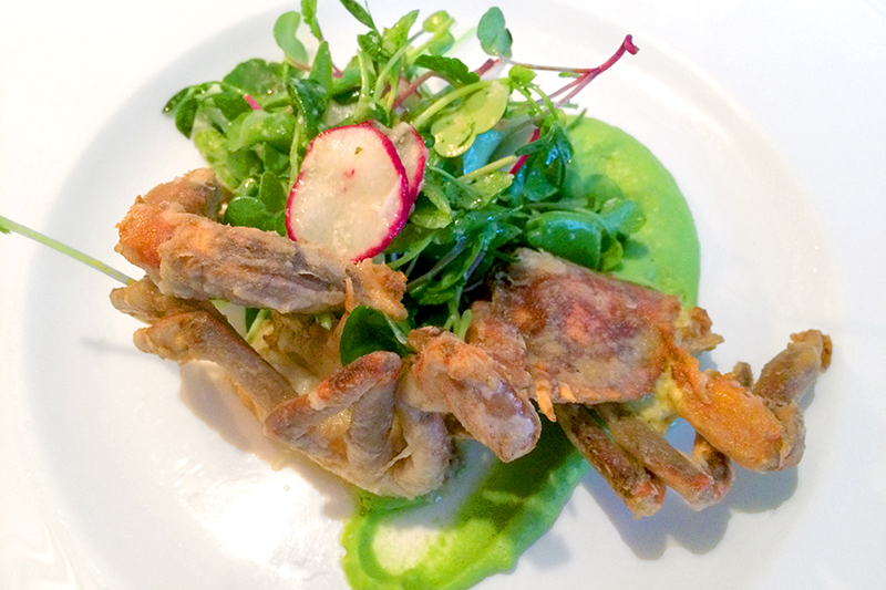 Soft-shell crab with lemon brown butter, pea purée and a radish sprout salad at <em>275 Main</em>  - Photo by Hideaway Report editor