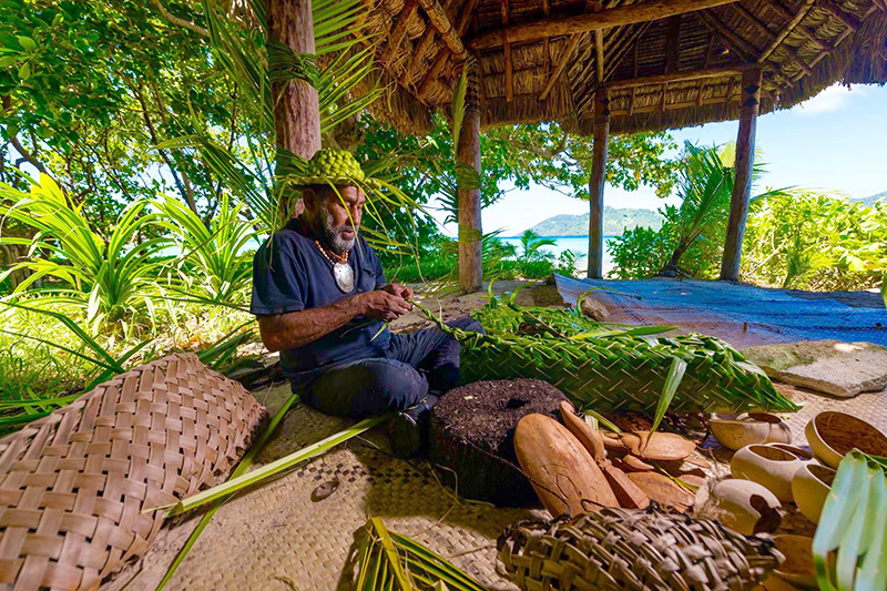 Master Fijian craftsman Silio leads workshops on traditional carving and weaving at Nanuku - © Nanuku Auberge Resort Fiji