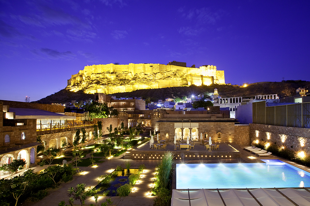 View over the courtyard of RAAS toward the Mehrangarh Fort