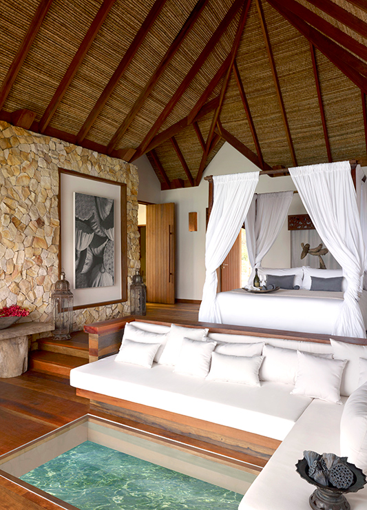 Overwater Villa interior at Song Saa