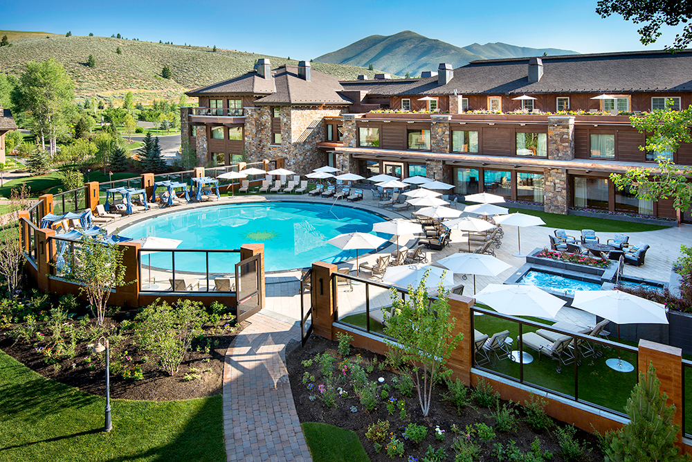 Newly extended pool and spa at Sun Valley Lodge in Idaho