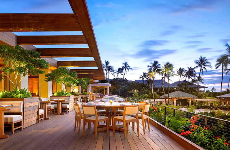 <i>Nobu Lanai</i> restaurant terrace at Four Seasons Lanai