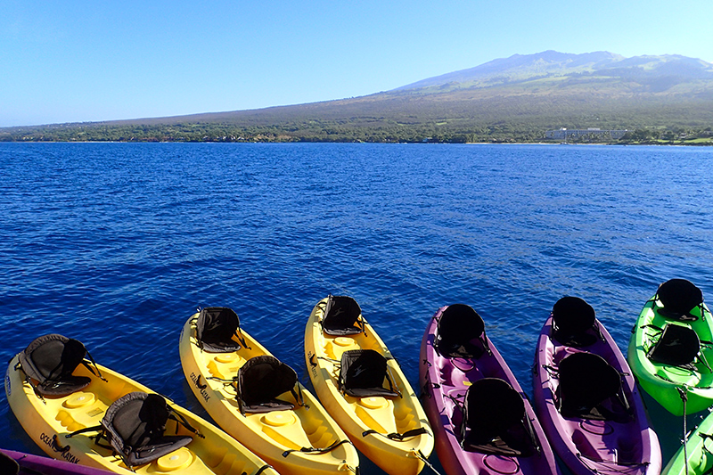 Kayaks for our excursion around Makena Beach State Park, Maui - Photo by Hideaway Report editor