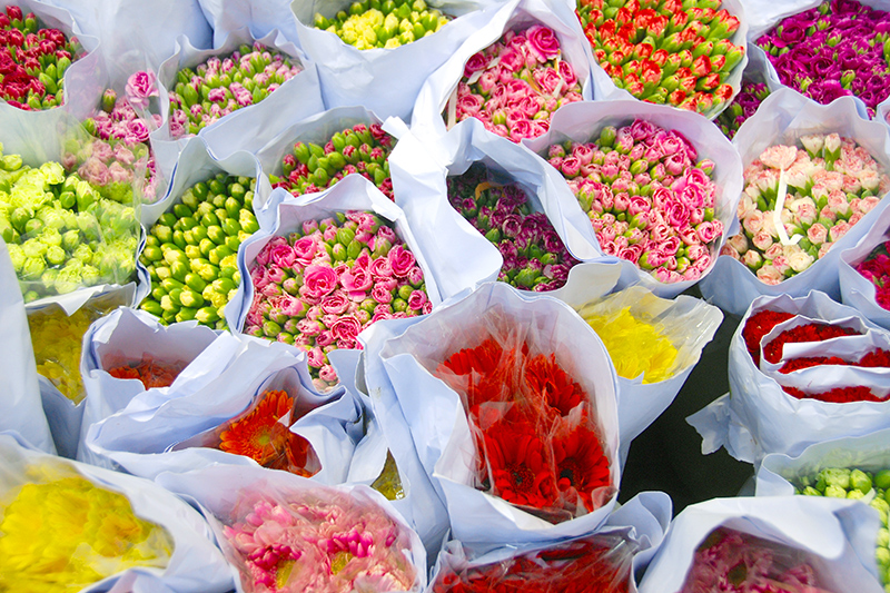 Colorful offerings along Flower Market Road - Photo by Hideaway Report editor