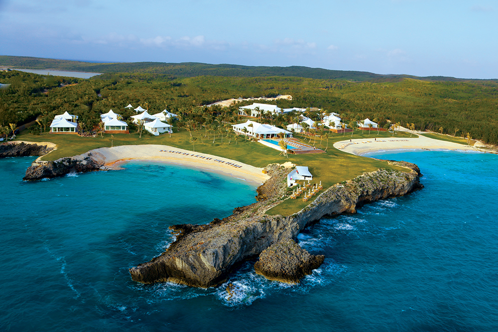 View of the two horseshoe bays at The Cove in Eleuthera, Bahamas