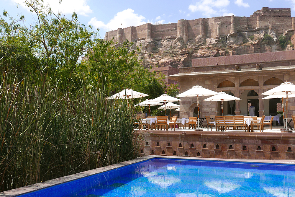 View of the Mehrangarh Fort from the pool at RAAS in Jodhpur, India