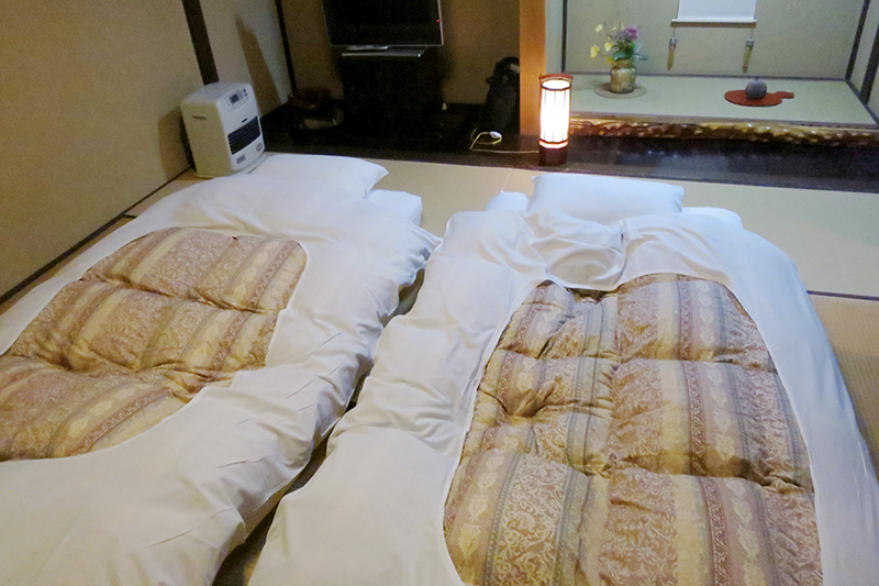 Futons prepared for the night at Wanosato - Photo by Hideaway Report editor