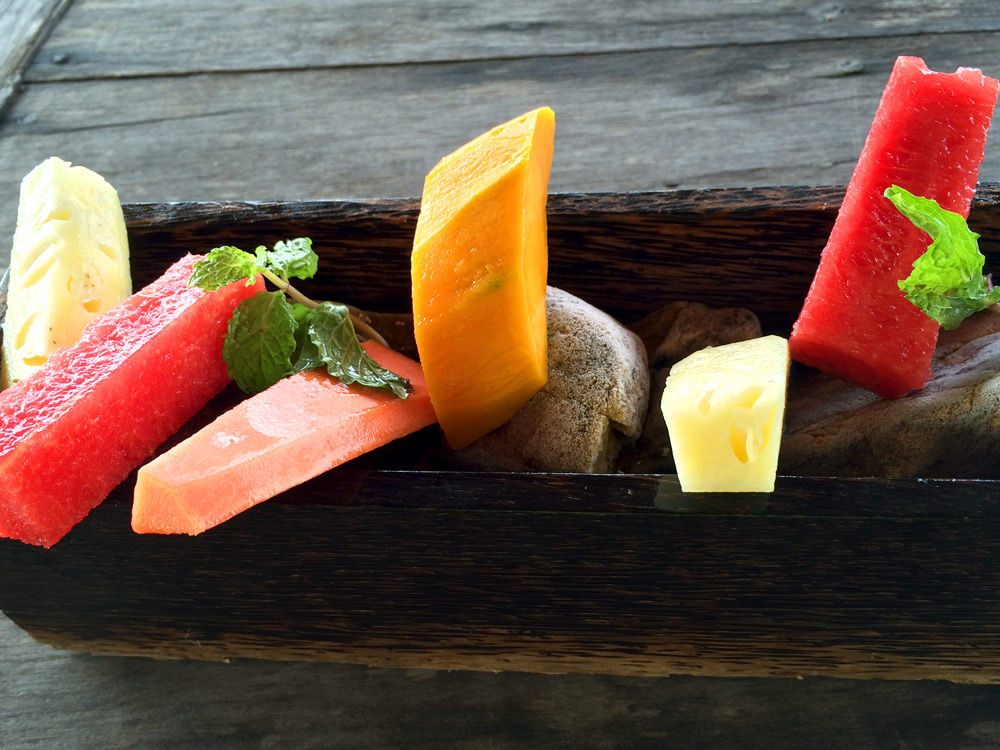 A sculptural arrangement of breakfast tropical fruit at Song Saa, Cambodia