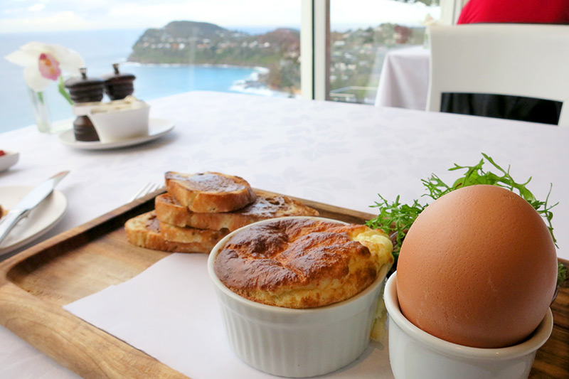 Our breakfast of duck egg soufflé, soft-boiled egg and Vegemite soldiers at Jonah's - Photo by Hideaway Report editor