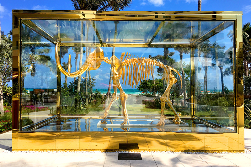 Gilded woolly mammoth by Damien Hirst in the garden at the Faena Hotel - Photo by Hideaway Report editor