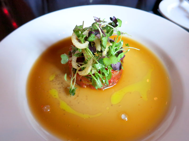 Spicy tuna and scallop tartare topped with microgreens at <em>Thalia</em> - Photo by Hideaway Report editor