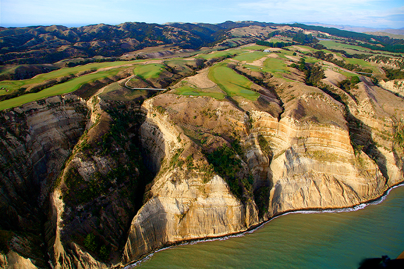 Aerial view of Cape Kidnappers golf course, Hawke's Bay