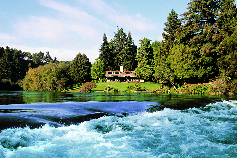 Huka Lodge on the banks of the Waikato River, three miles north of the town of Taupo