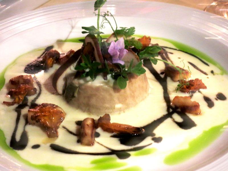 Mushroom flan at the Hotel Castello di Sinio restaurant