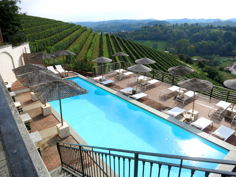 View of the vineyards from the pool at Villa Tiboldi
