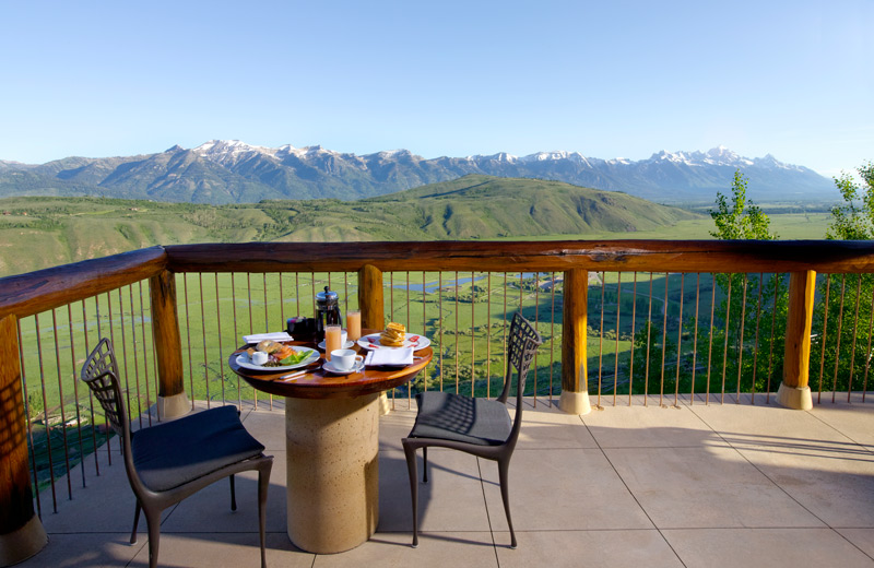 Suite terrace view of the Tetons at Amangani