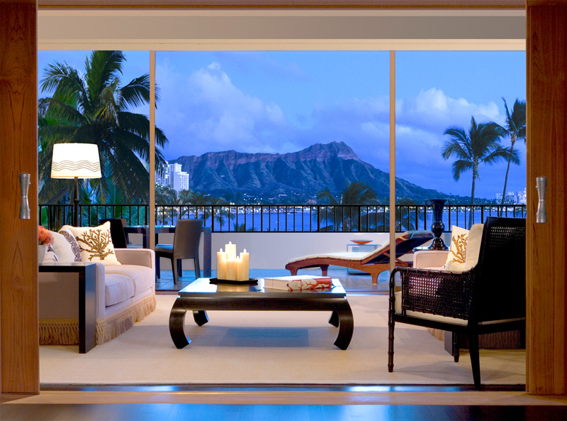 View of Diamond Head from suite at the Haleukulani