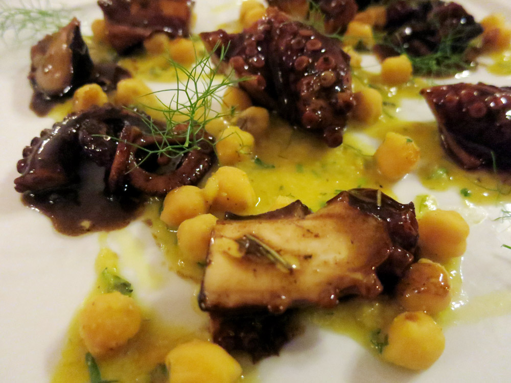 Roasted octopus and chickpeas with wine sauce at <i>Luigi Pomata</i> - Photo by Hideaway Report editor
