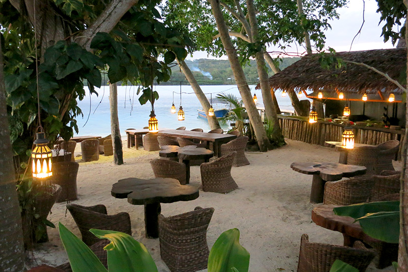 Beachside restaurant at Ratua Private Island - Photo by Hideaway Report editor