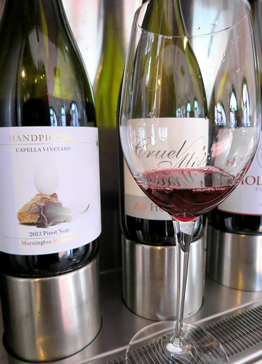 A glass of the 2012 Handpicked Wines Capella Vineyard Pinot Noir at <i>Wine Odyssey Australia</i> - Photo by Hideaway Report editor