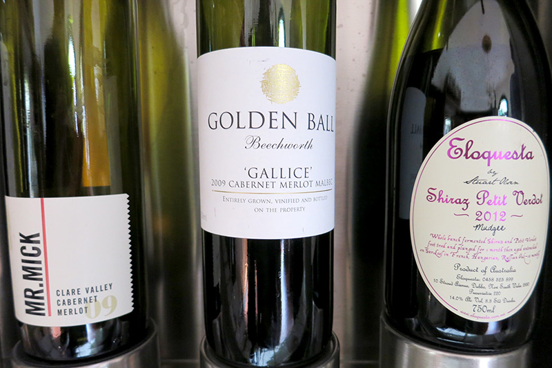 "Variety of wines at <i>Wine Odyssey Australia</i>, including the Golden Ball ""Gallice"" Cabernet Sauvignon-based blend - Photo by Hideaway Report editor"