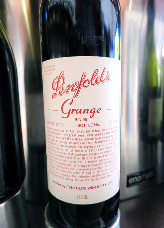 "Australia's most famous wine, Penfolds ""Grange,"" from 2005 at <i>Wine Odyssey Australia</i> - Photo by Hideaway Report editor"