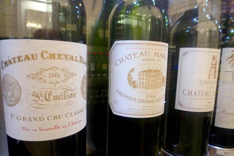 Bottles of Château Cheval Blanc, Château Margaux and Château Latour at Max Bordeaux