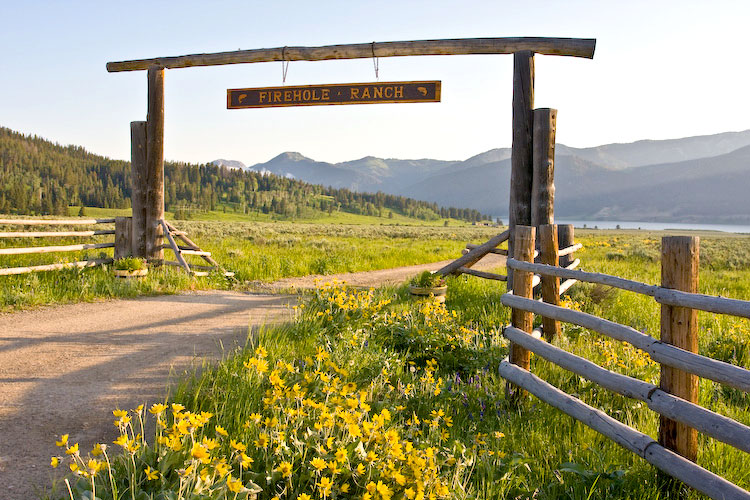 Front gate at Firehole Ranch