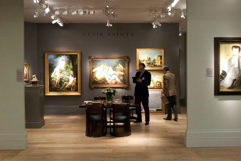 A dealer of old master's paintings at The European Fine Art Fair