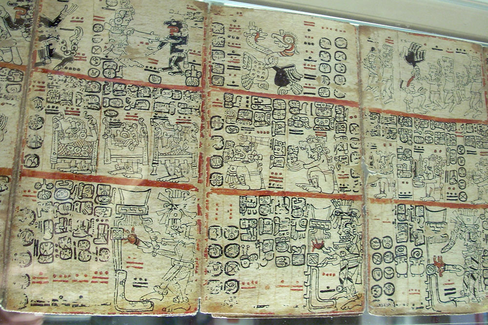 The Madrid Codex, a hieroglyphic manuscript detailing daily Mayan life, at the Museum of the Americas