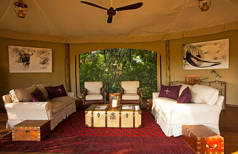 Sitting area of tented suite at Mara Plains Camp