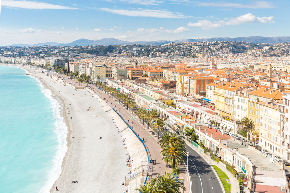 The beach on the Mediterranean in Nice, France